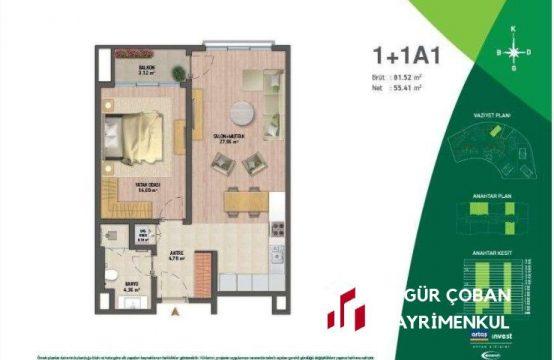 Vadi Istanbul Park 1+1 Satılık – yüksek kat, kiracılı (1bedroom)