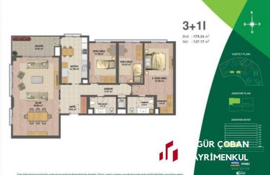 Vadi Istanbul Park 3+1 Satılık – çift cepheli salon, geniş balkon (3bedroom)