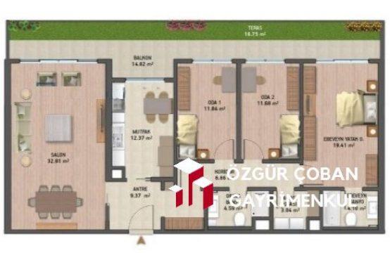 Vadi Istanbul Teras 3+1 Satılık – bahçe katı (3bedroom)